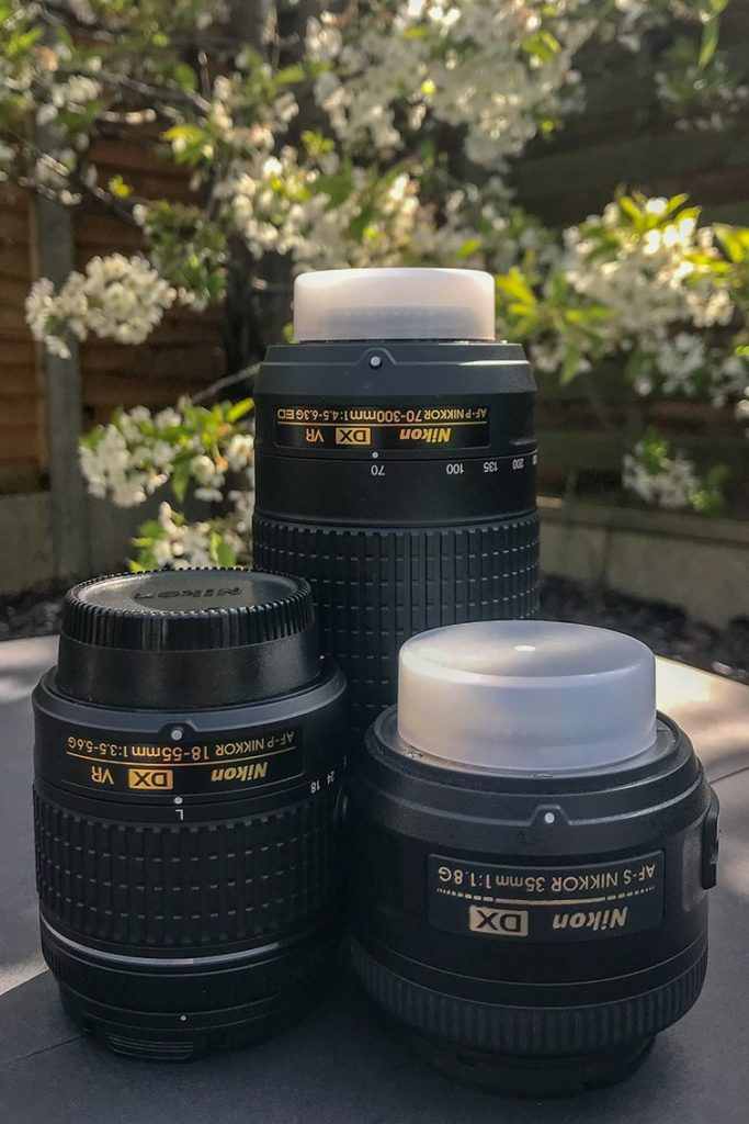 Nikon Lenses X 3; Nikkor 18-55mm f/3.5-5.6 lens, Nikkor 35mm f/1.8 wide angle lens, and Nikkor 70-300mm f/4-5.6 telephoto lens