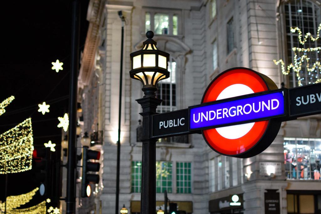 London Underground sign on Regent Street, Christmas 2018