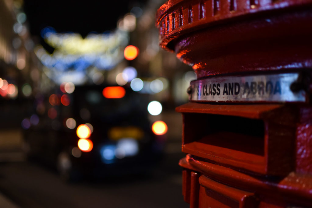 Taxi and post box, with Bokeh, on Regent Street, Christmas 2018