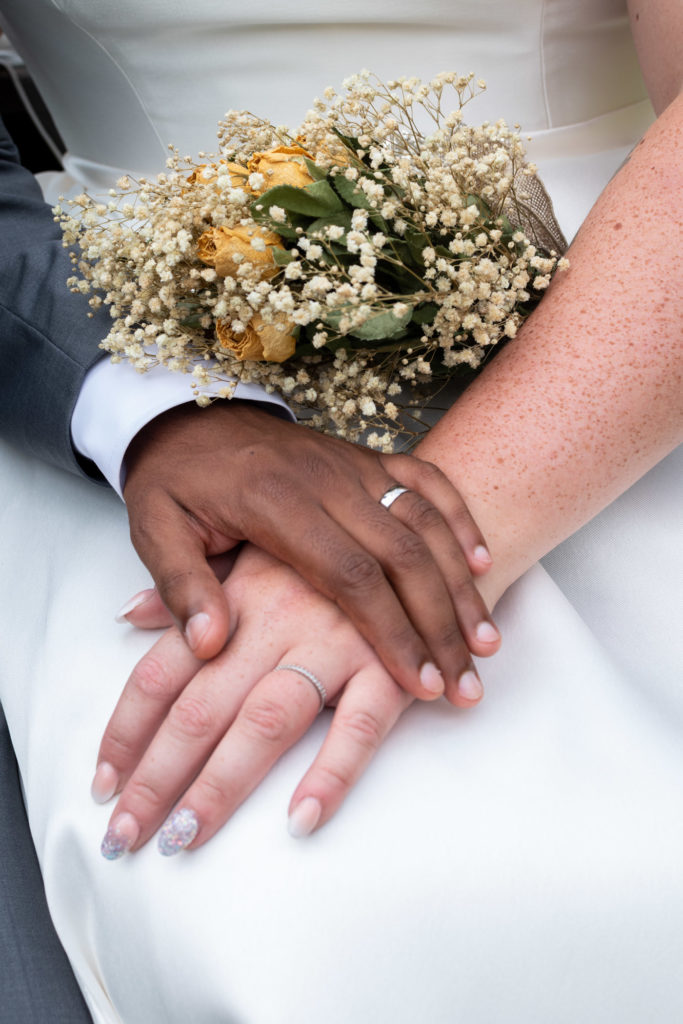 Wedding; Bride and Groom wedding ring closeup