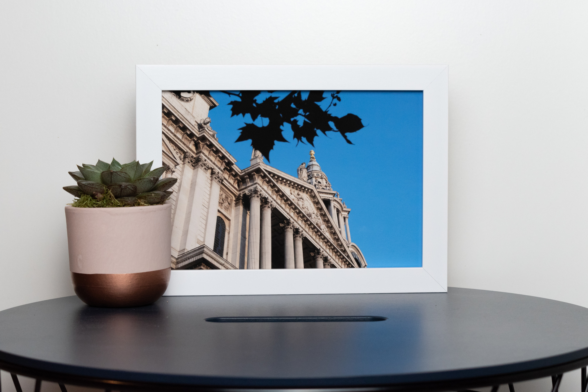 Framed A5 Victoria Broad Photography print of St Pauls, in white frame.